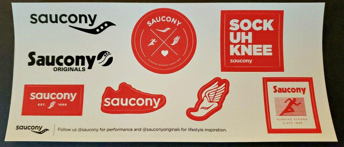 sheet of saucony vinyl stickers