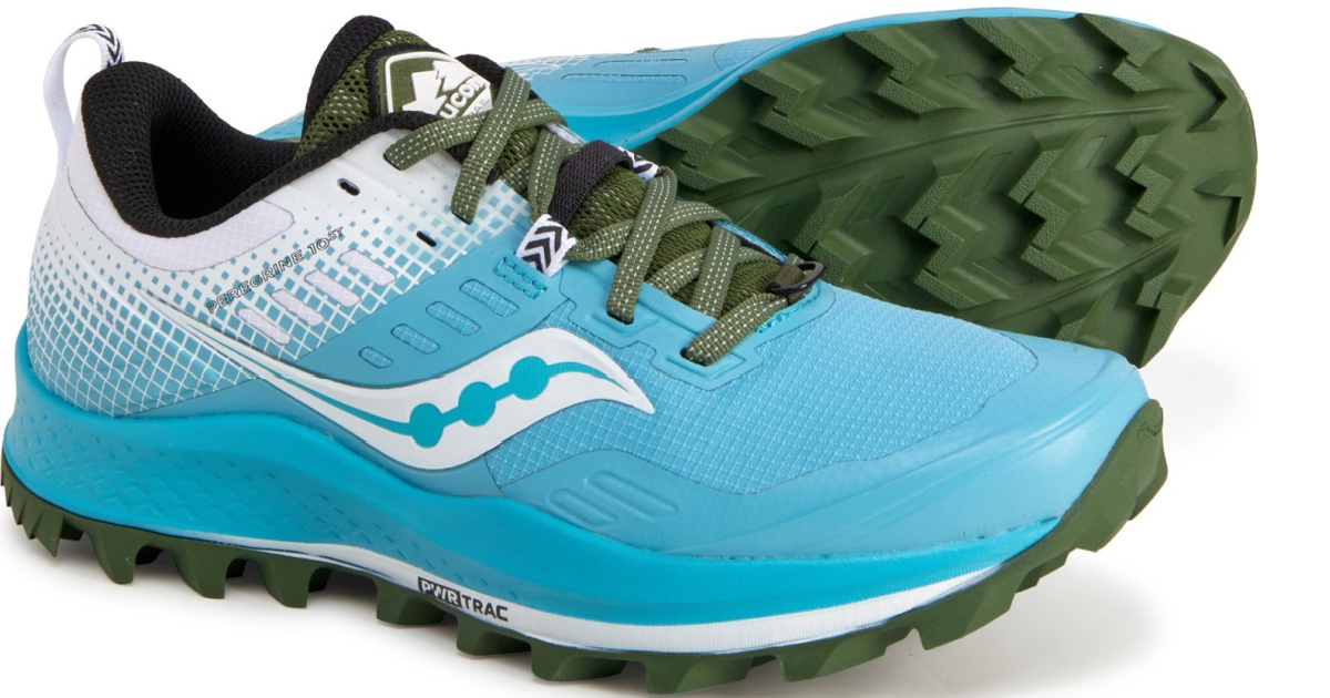 Blue and green trail shoes