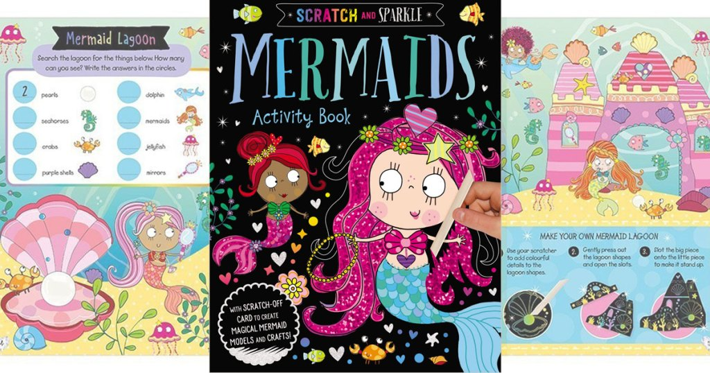 cover and inside pages of scratch and sparkle mermaid activity book