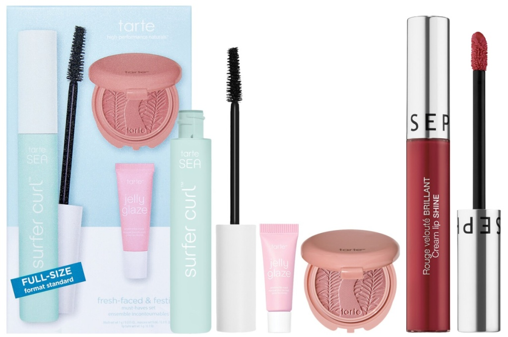 Tarte SEA Fresh-Faced & Festive Must-Haves Set and Sephora Collection Cream Lip Shine Liquid Lipstick
