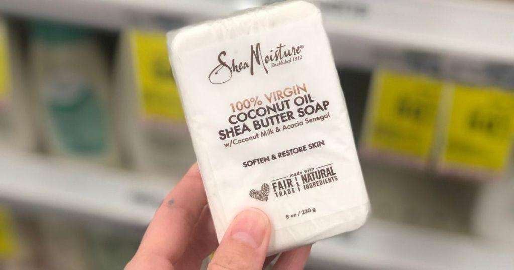 hand holding SheaMoisture Coconut Shea Butter Soap
