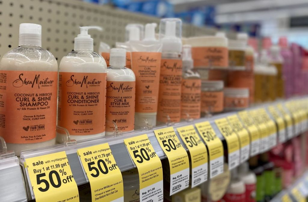 row of SheaMoisture products at Walgreens