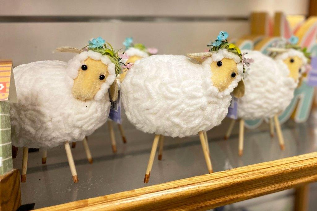 white sheep table decor on shelf at kohls