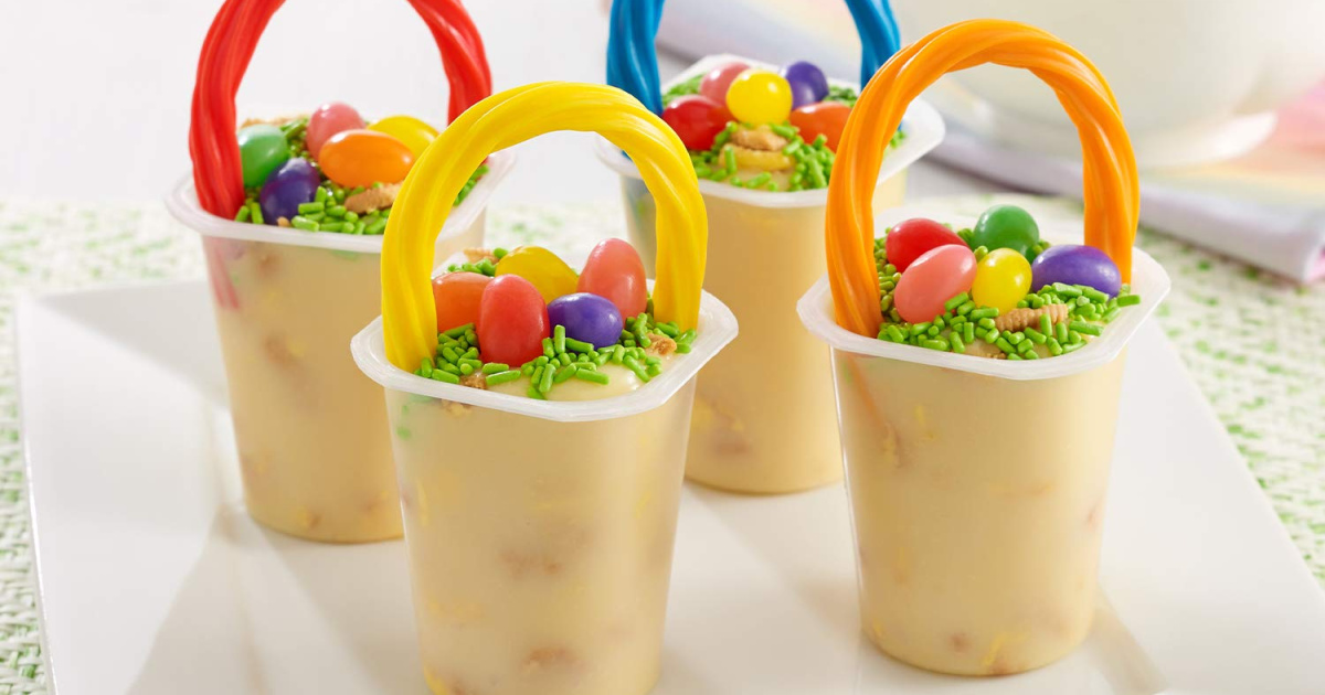 lemon flavored pudding cups made to look like Easter baskets