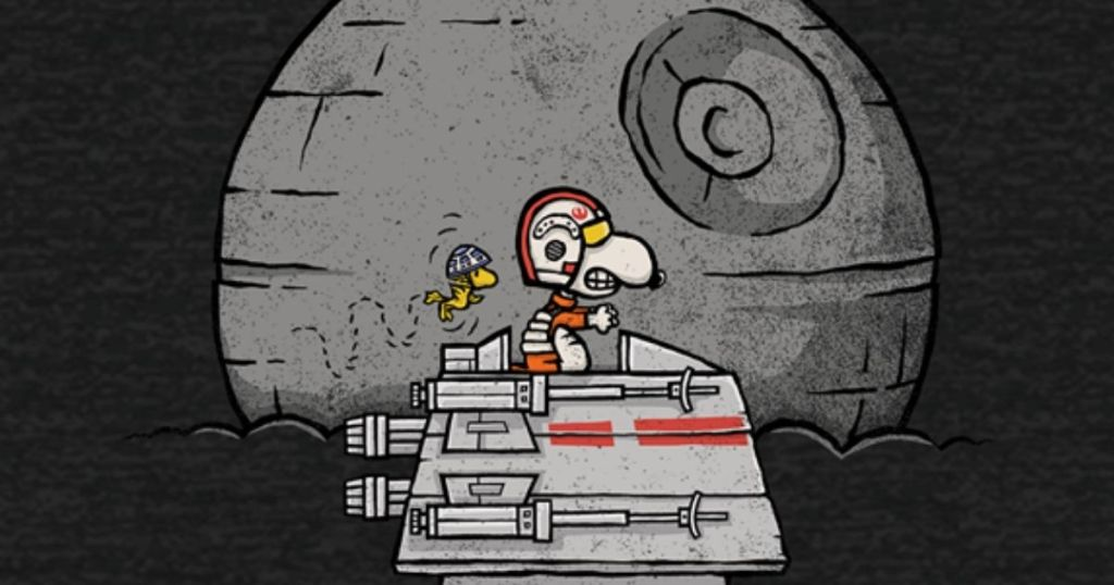 Snoopy on his house with the death star behind him