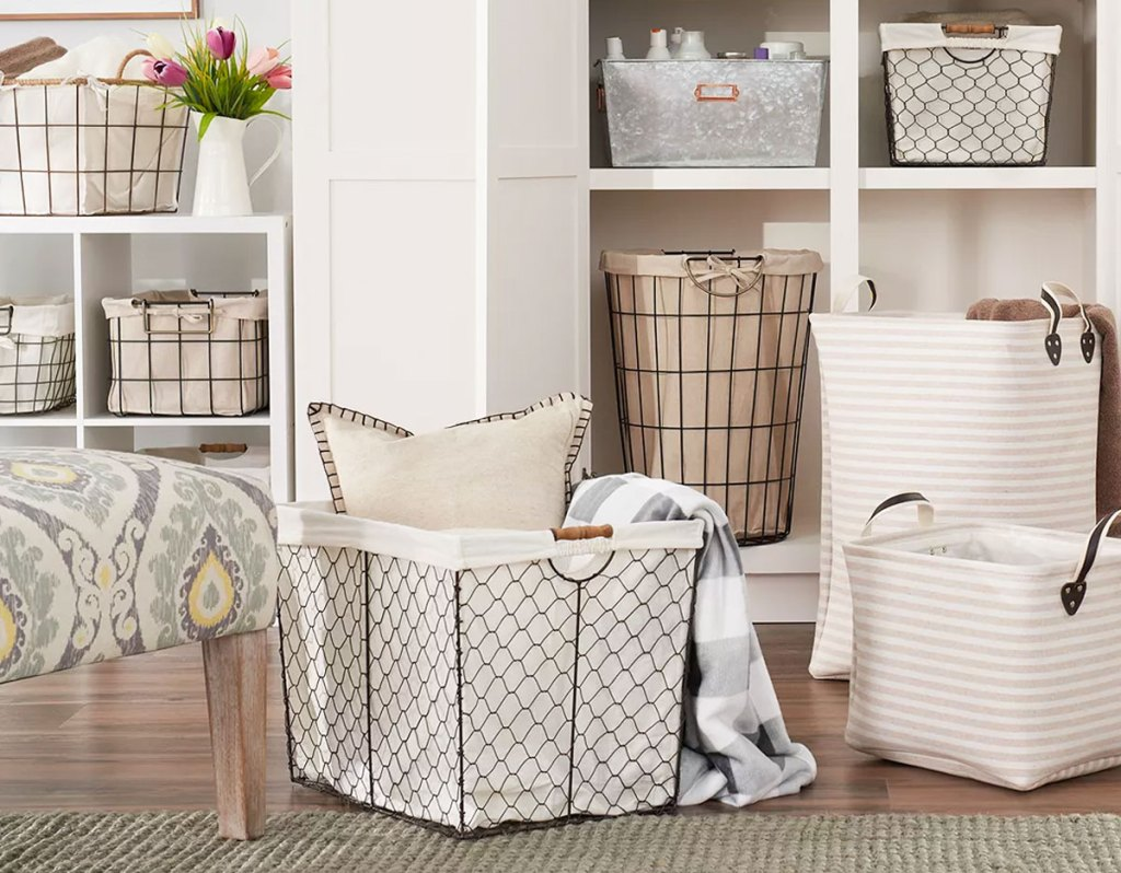 collection of wire and fabric storage bins