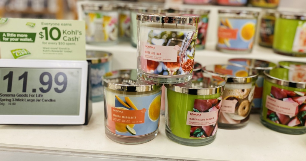3 sonoma brand candles stacked at kohl's