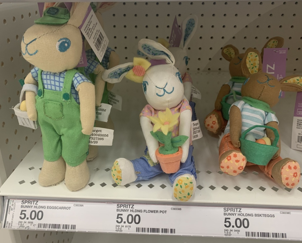 Variety of fabric bunnies on display in-store