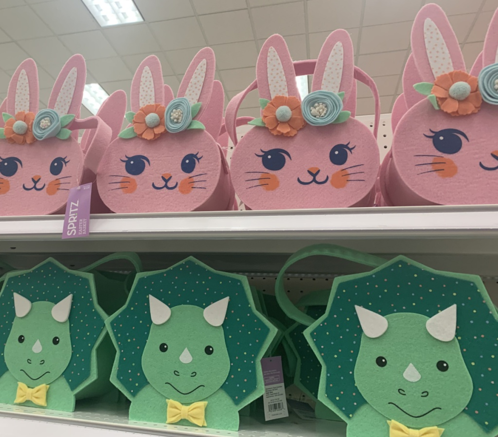In-store display of felt easter baskets