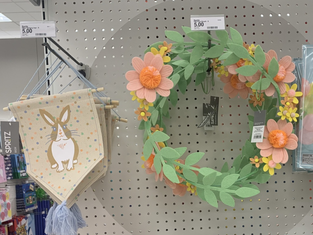Easter themed felt decor on display in-store