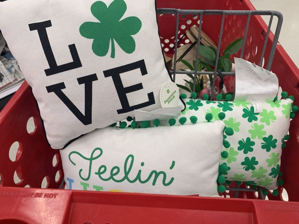 St Patrick's Day Pillows in front basket of shopping cart