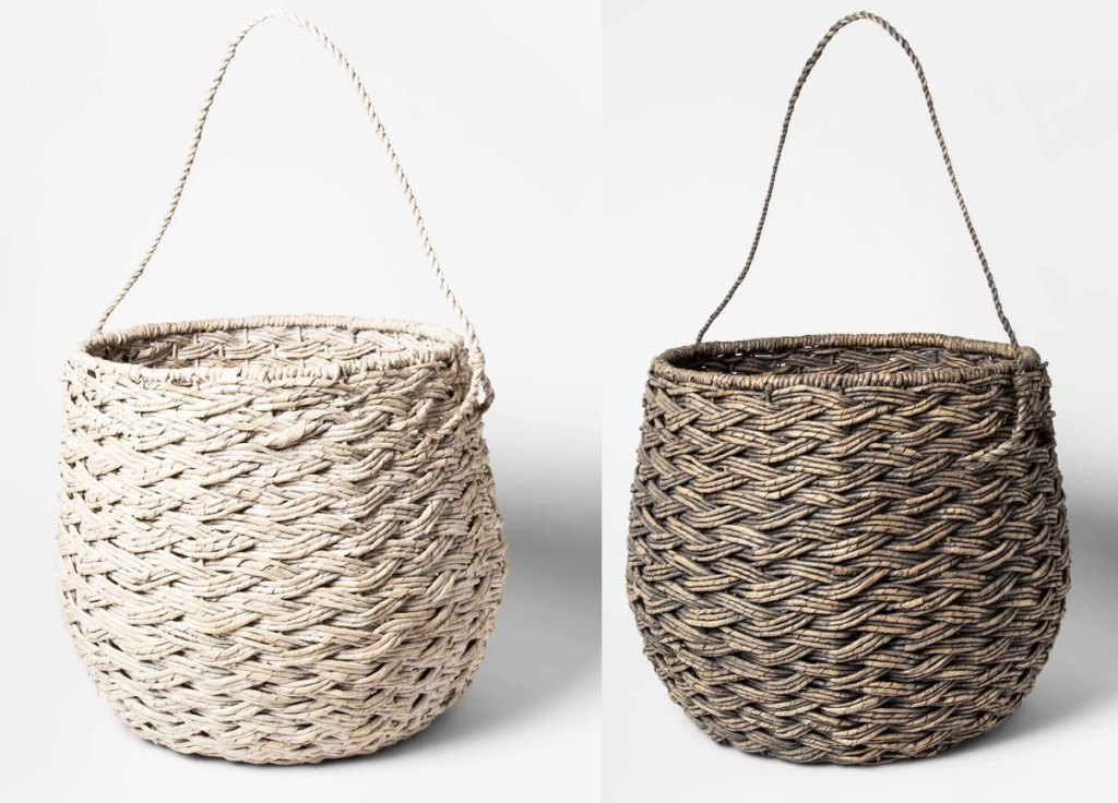 cream and brown colored round storage baskets