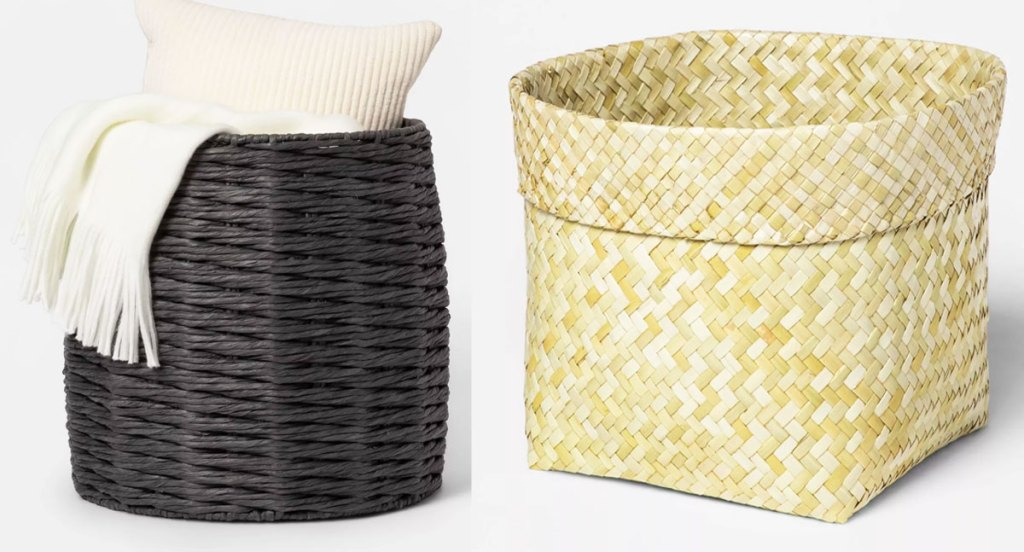 black and natural colored storage baskets
