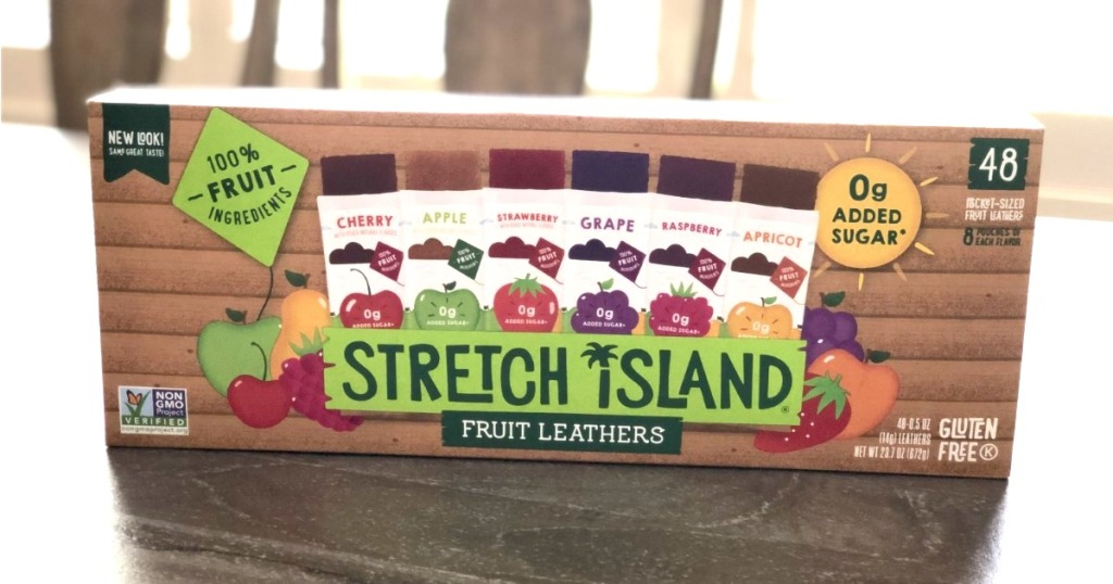box of Stretch Island fruit leathers on table