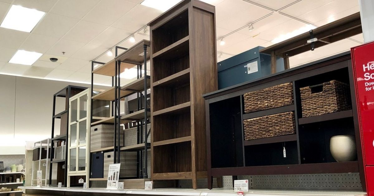 Target store shelf with various upright shelves displayed