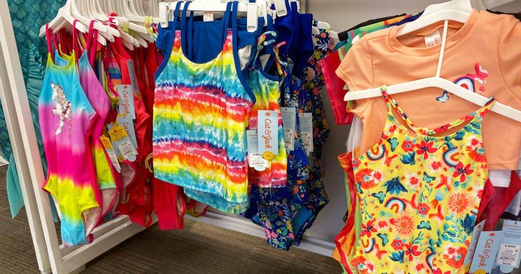 girls bathing suits on display at target