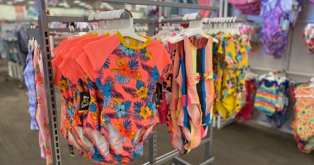 Target Girls Swimwear hanging in store