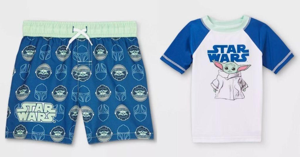 Target Kids Swimwear Baby Yoda trunks and rash guard