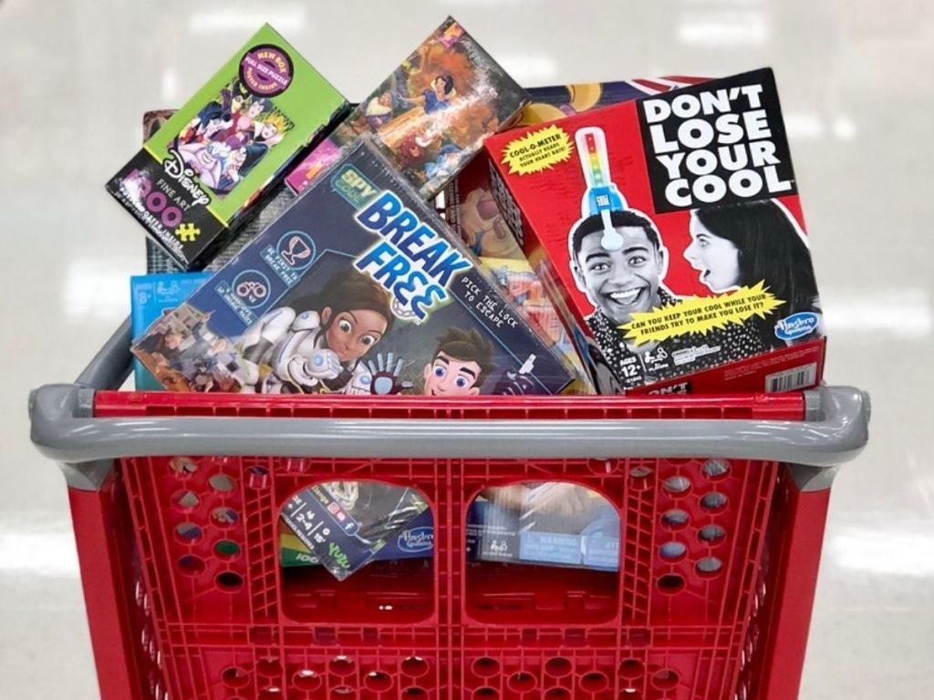 Target shopping cart full of games and puzzles