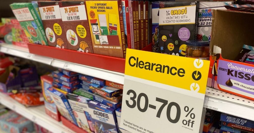 Target clearance sign by Valentine's day items