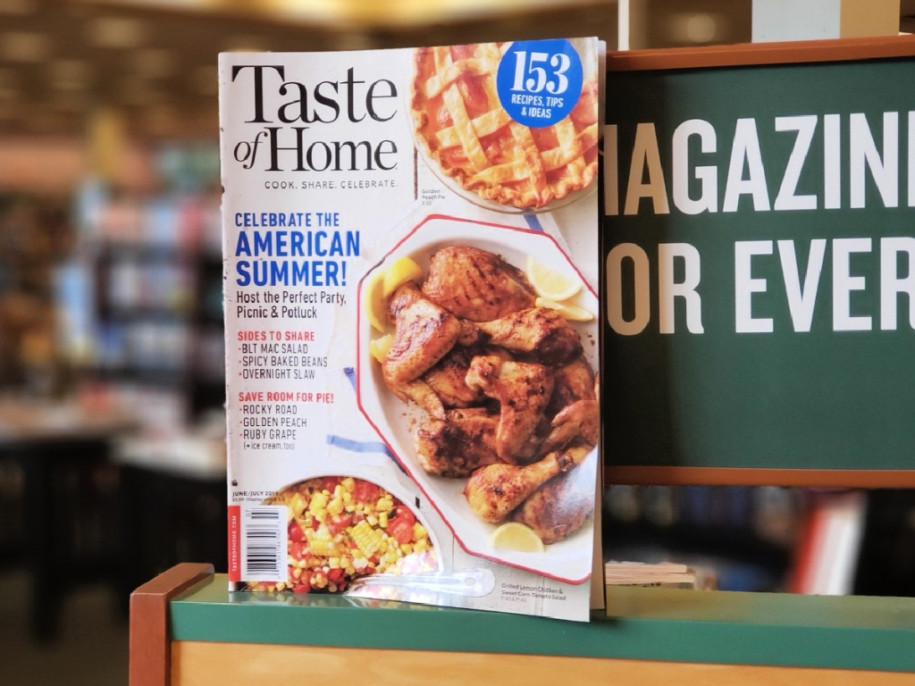 Taste of Home magazine on shelf