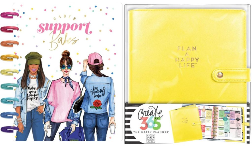planner with three cartoon-drawn women on front and bright yellow planner cover