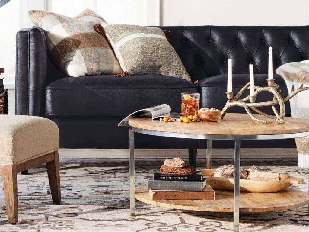 Threshold Berwyn Round Coffee Table Metal and Clear Wood
