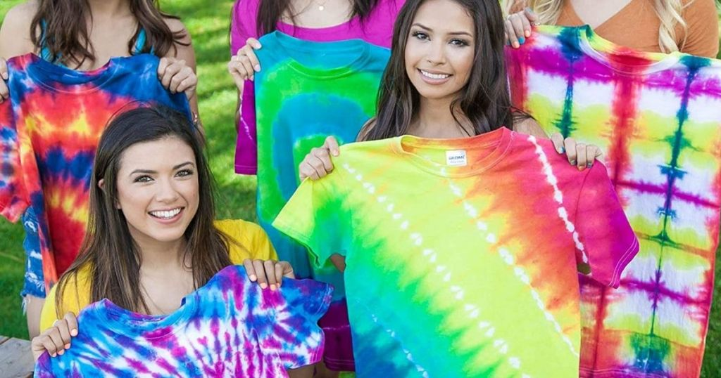 girls with finished Tulip Tie-Dye Kit projects