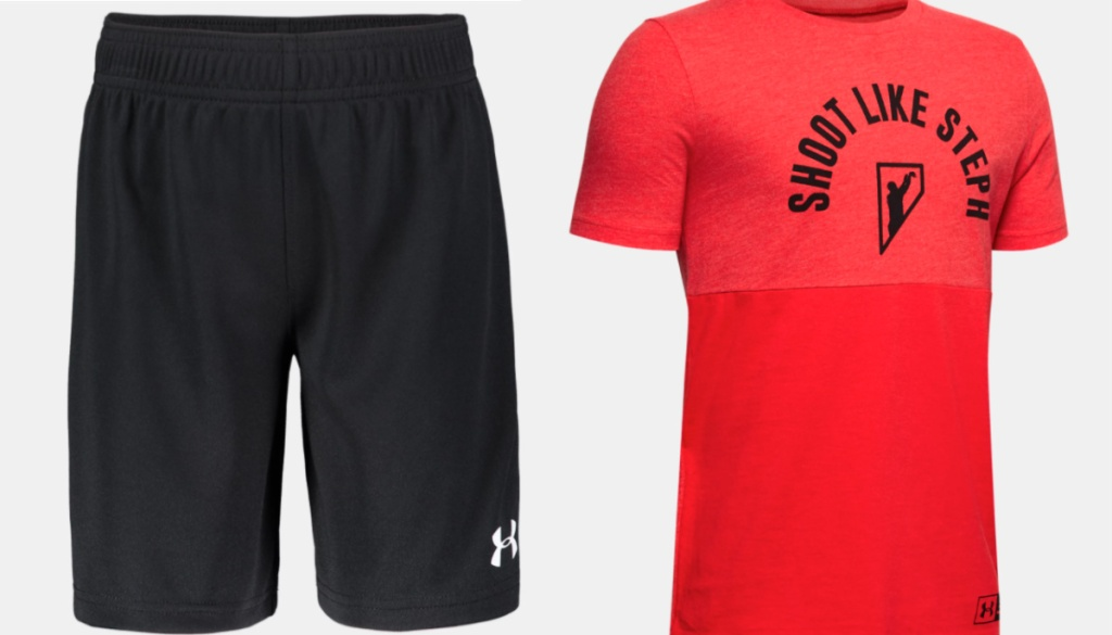 black under armour shorts and red graphic tee