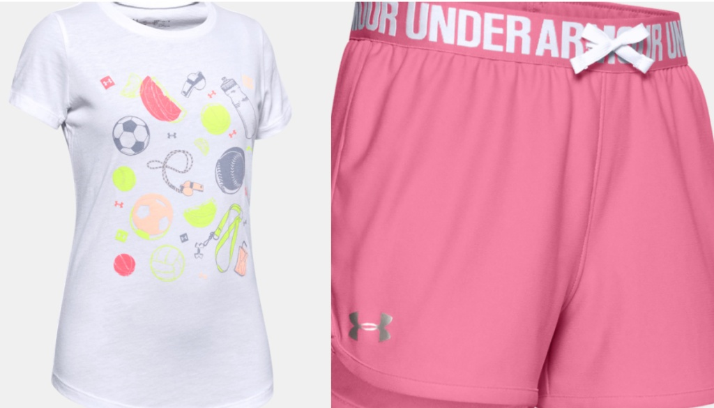 girls graphic tee and pink under armour shorts