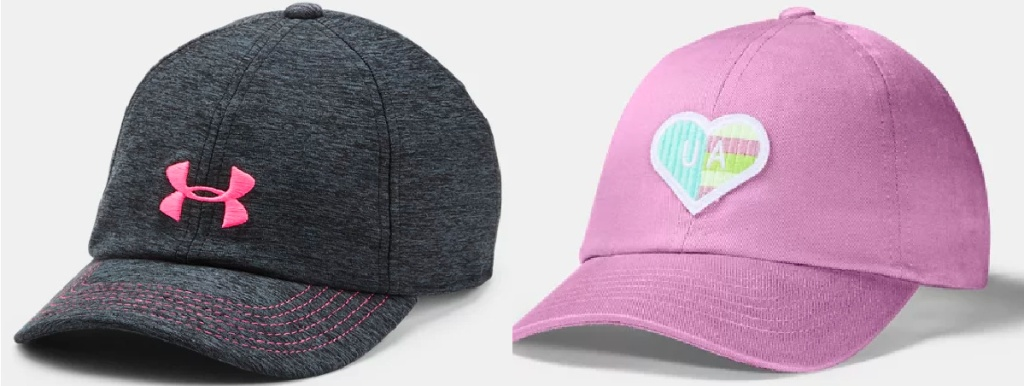 gray under armour hat and pink under armour hat with heart patch