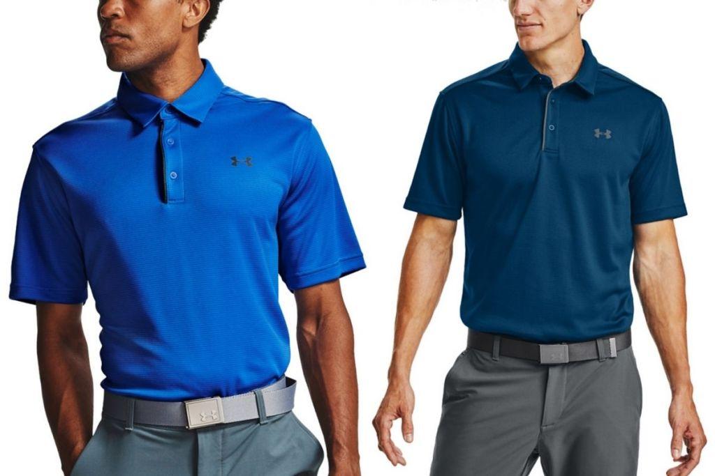 2 men wearing Under Armour Men's Tech Polo Shirts