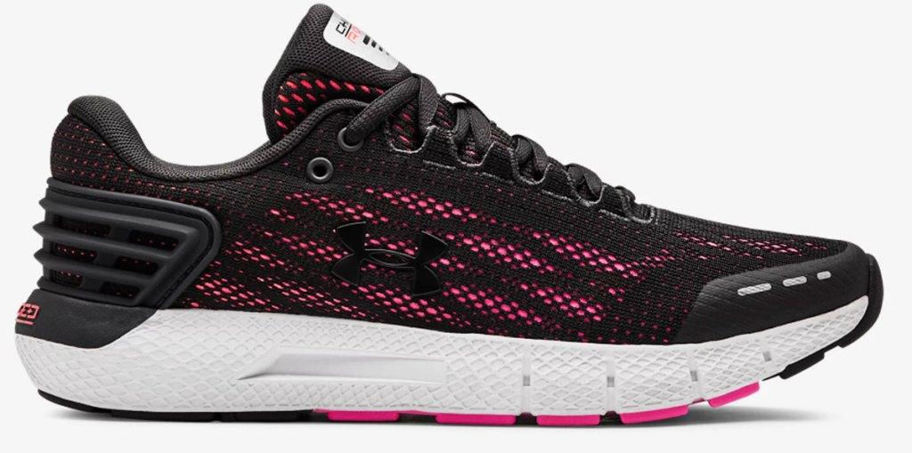 black and pink women's under armour running shoe