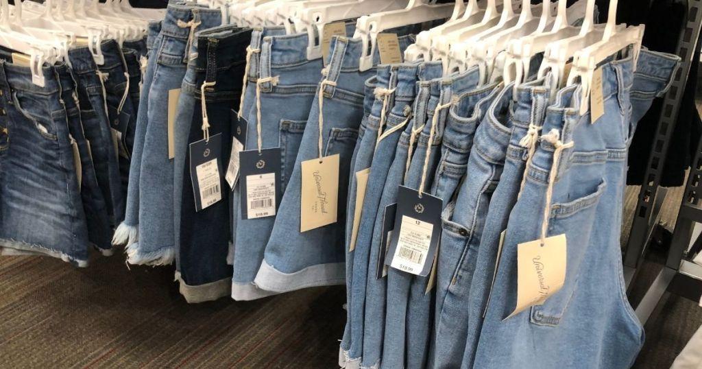 shorts on hangers at Walmart