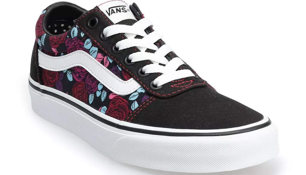 white, black and floral VANS shoe