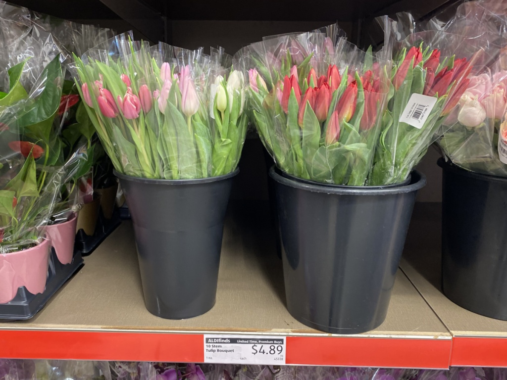 10 stem tulips bouquets in store at ALDI