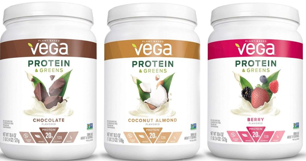 vega protein powder in three flavors