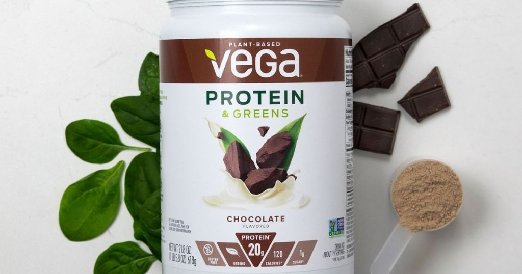 Vega Proteins and Greens Chocolate container