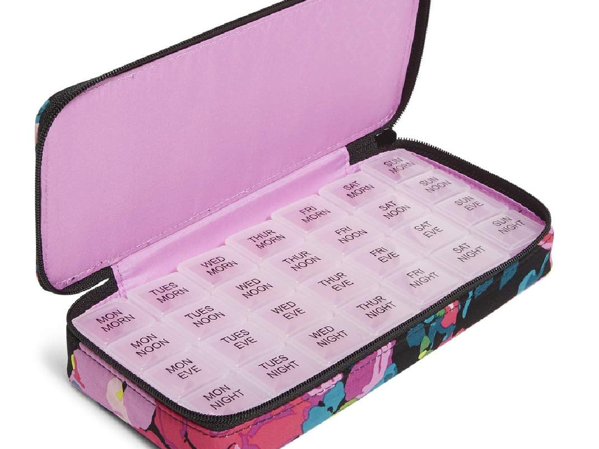 Vera Bradley Large Travel Pill Case in pink floral