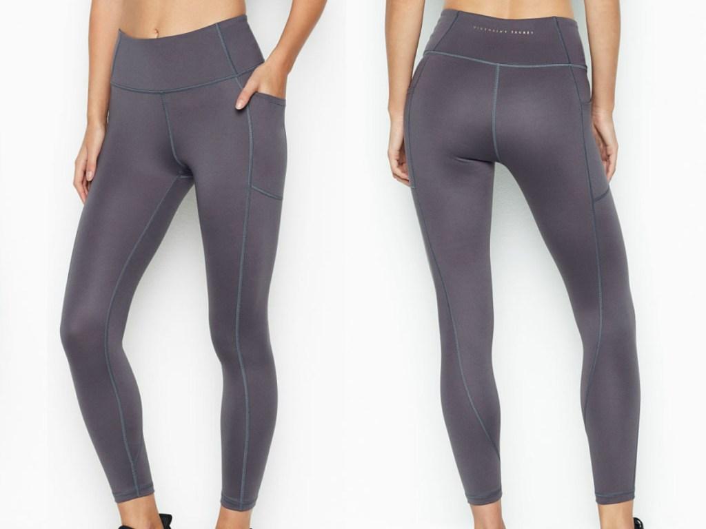 woman wearing grey victoria secret athletic leggings