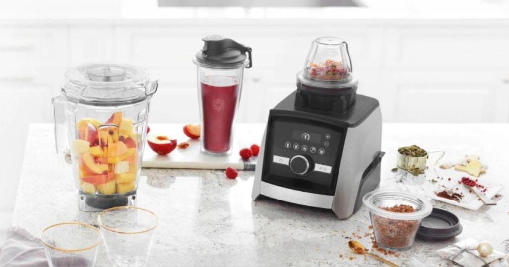 several Vitamix A3500 Ascent Series Smart Blender Accessories on counter