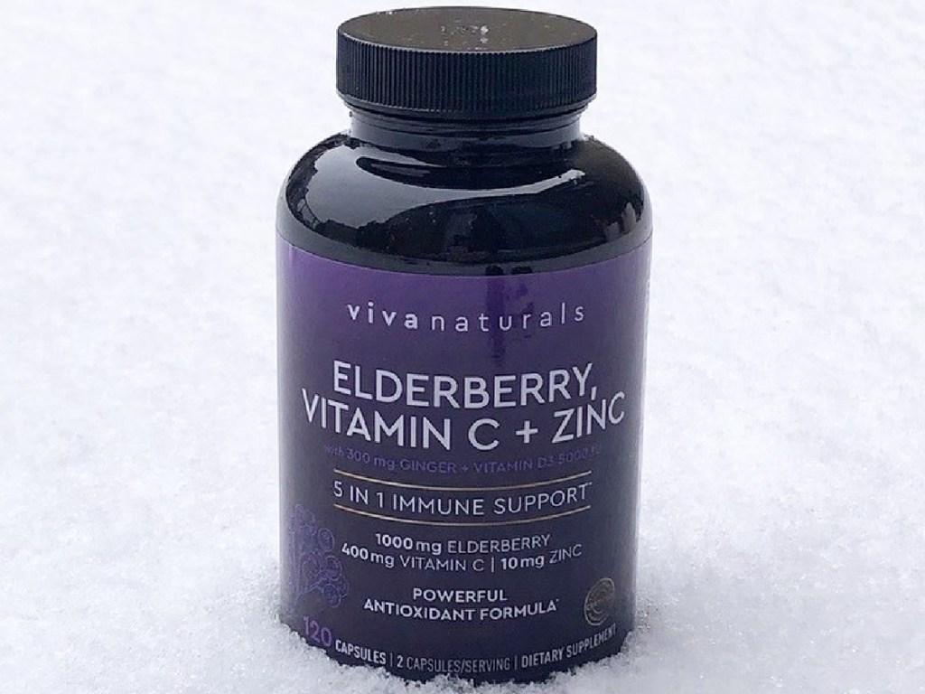 Viva Naturals Elderberry, Vitamin C, Zinc, Vitamin D 5000 IU & Ginger 120-Count Capsules