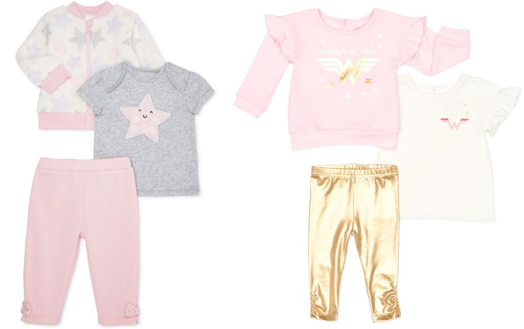 two 3-piece baby girls outfit sets
