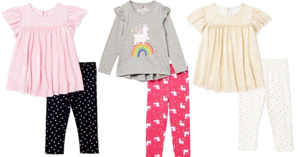 three 2-piece girls outfit sets