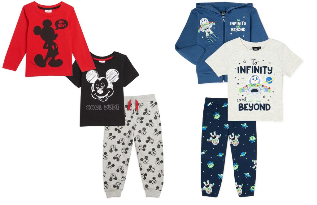 two 3-piece toddler boys outfit sets in mickey mouse and buss lightyear