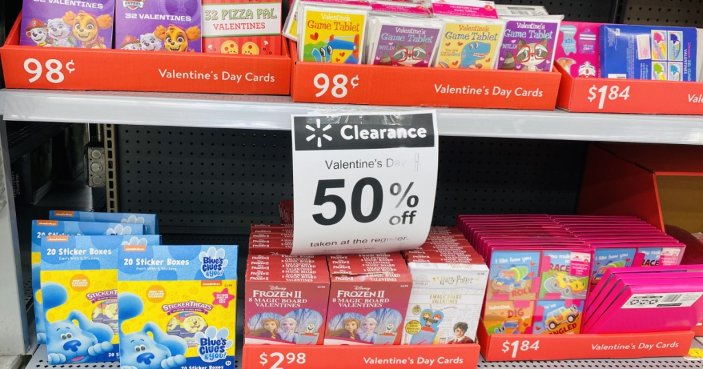 50% off valentine clearance sign at walmart