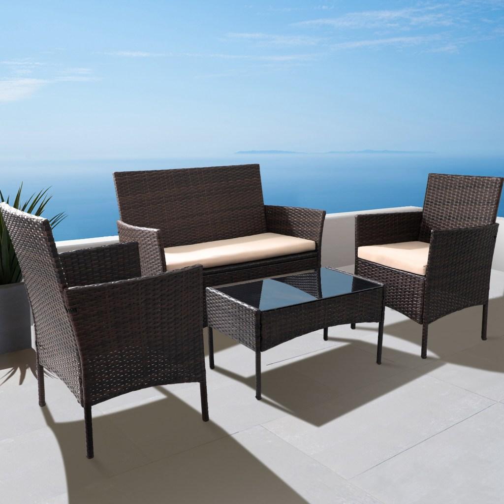 Walnew 4 piece Furniture Set on beautiful patio overlooking water