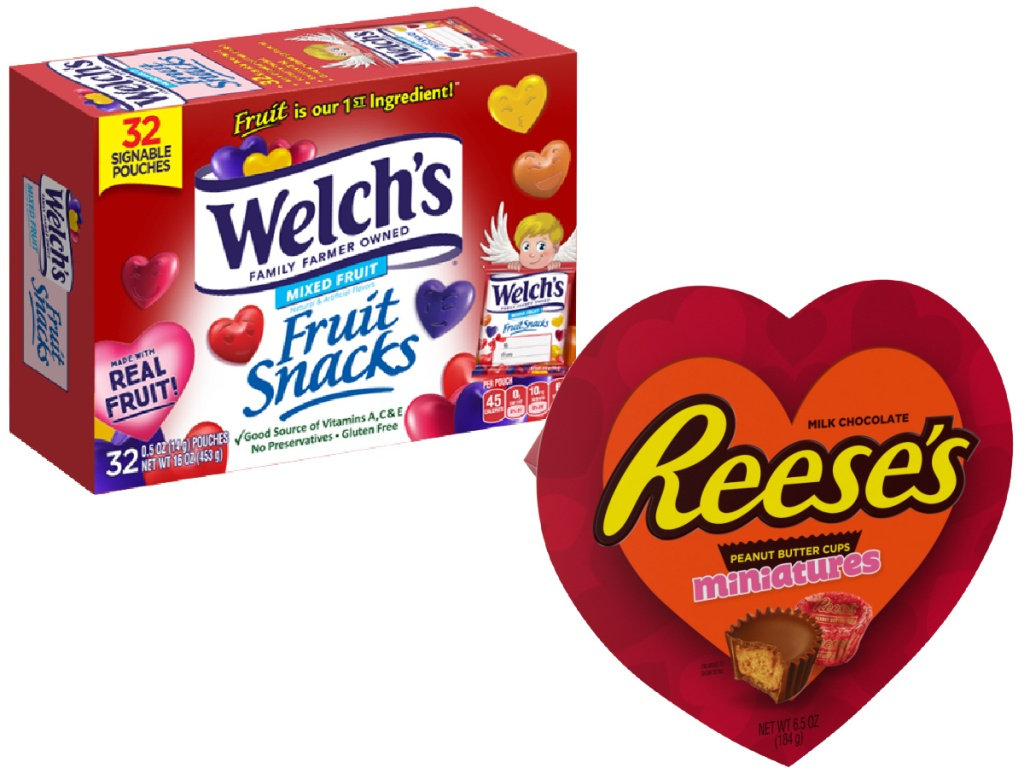Welch's Valentine's Mixed Fruit Snacks 32-Count and Reese's Miniatures Valentine's Heart Box