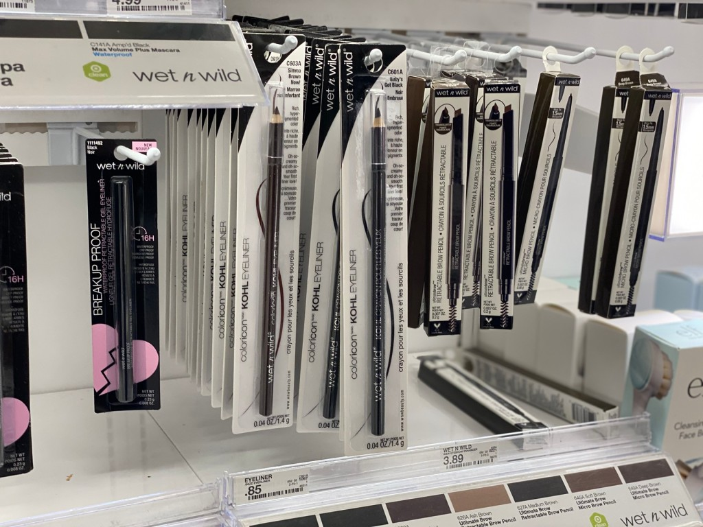 Wet n Wild Eyeliner Pencils hanging in store beauty section