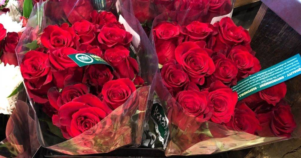 rose bouquets at Whole Foods